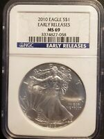 2010 SILVER EAGLE NGC MINT STATE 69 EARLY RELEASE