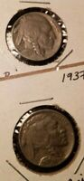1936/1937 US BUFFALO NICKELS FULL-DATE EXCELLENT CONDITION