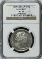 GREAT BRITAIN 1817 LARGE BUST HALF CROWN 1/2 CROWN CHOICE UNCIRCULATED NGC MS65