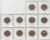 10 CANADA LARGE CENTS 1911 TO 1920