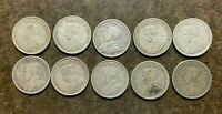TEN  10  CANADIAN SILVER 25 CENT COINS GEORGE V 1920 TO 1936
