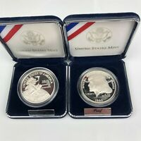 1995 SPECIAL OLYMPICS & 1996 SMITHSONIAN PROOF US SILVER $1