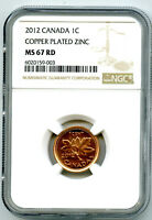 2012 CANADA CENT NGC MS67 RD NON MAGNETIC ZINC LAST YEAR OF