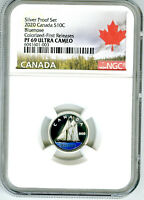 2020 CANADA 10 CENT SILVER COLORED PROOF NGC PF69 UCAM DIME FIRST RELEASES