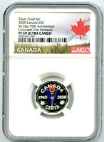 2020 CANADA 5 CENT SILVER COLORED PROOF NGC PF69 FIRST RELEA