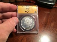 1878 8TF VAM 1 MINT STATE 63 PL ANACS SPEARPOINT PROOF LIKE MORGAN SILVER DOLLAR POP 19/3