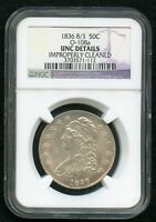 1836 CAPPED BUST HALF DOLLAR 8/3 O 108A NGC UNC DETAILS IMP.