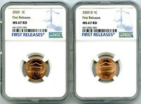 2020 P & D CENT NGC MS67 SHIELD MATCHING 2 COIN LINCOLN LABE