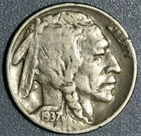 1937 D 5C 3 LEGGED BUFFALO NICKEL GRADE VF /XF  SKU 2363