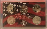 2001 SILVER PROOF STATE QUARTERS MINT SET W/ COA   NO BOX