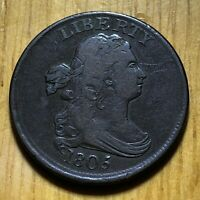 1805 1/2C   HALF CENTDRAPED BUST UNITED STATES   BETTER COND