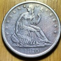 1870 S US 90  SILVER SEATED LIBERTY HALF DOLLAR T   BETTER D