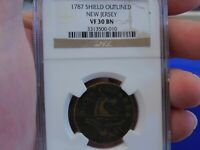COLONIAL COPPER  1787 SHIELD OUTLINED NEW JERSEY NGC VF30