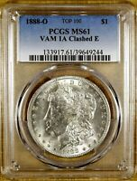 1888-O PCGS MINT STATE 61 VAM 1A CLASHED E MORGAN DOLLAR - 100 WHITE - VAM 1A2