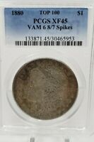 1880 MORGAN SILVER DOLLAR $1 PCGS EXTRA FINE -45 TOP 100 VAM 6 8/7 SPIKES