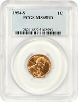 1954-S 1C PCGS MINT STATE 65 RD - LINCOLN CENT