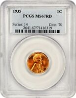 1935 1C PCGS MINT STATE 67 RD - LINCOLN CENT
