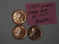 WHEAT CENT 1937-D,1937-S RED BU SET 1937,1937D,1937S UNC LINCOLN CENT'S LOT 8