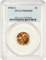 1954-S 1C PCGS MINT STATE 66 RD - LINCOLN CENT