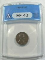 EXTRA FINE  1931-S LINCOLN PENNY ANACS EF40.  6