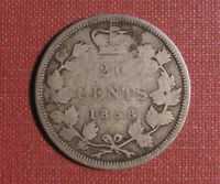 1858 CANADA 20 CENT PIECE    ONE YEAR TYPE CIRCULATED EXAMPLE