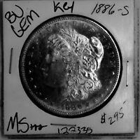 1886 S BU GEM MORGAN SILVER DOLLAR MS US MINT  KEY DATE FREE SHIP 122335