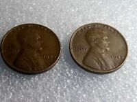 2    1945 ..  NO MINT MARK WHEAT PENNIES