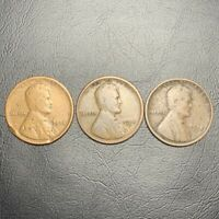 1918 P,D,S, LINCOLN WHEAT CENT LOT 3