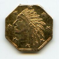 1849 OCT IND 1/4 SIZE CALIFORNIA GOLD TOKEN / 8 STARS INDIAN