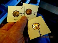 GEM BRILLIANT UNCIRCULATED  FULL RED 1935-PDS SET LINCOLN CENT  COIN