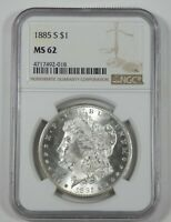 1885-S MORGAN DOLLAR CERTIFIED NGC MINT STATE 62 SILVER DOLLAR  DESIRABLE DATE