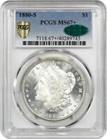 1880-S $1 PCGS/CAC MINT STATE 67 GORGEOUS - MORGAN SILVER DOLLAR - GORGEOUS