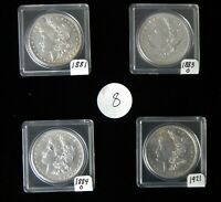 LOT - 4 MORGAN SILVER DOLLARS 1881, 1883O, 1884O, 1921 HIGH GRADE CONDITION L-8