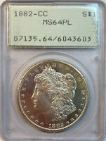 1882-CC MORGAN SILVER DOLLAR PCGS MINT STATE 64PL PROOF LIKE, OLD GREEN RATTLER