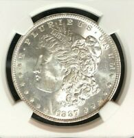 1887 VAM 12A NGC MINT STATE 62 MORGAN SILVER DOLLARGENE L HENRY LEGACY COLLECTION 062