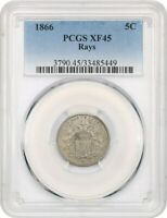 1866 5C PCGS EXTRA FINE 45 WITH RAYS POPULAR FIRST YEAR TYPE COIN - SHIELD NICKEL