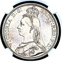 1887 QUEEN VICTORIA GREAT BRITAIN LONDON MINT SILVER CROWN COIN NGC MS64