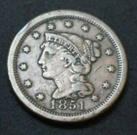 1851 US BRAIDED HAIR LARGE 1C ONE CENT 170 YEARS OLD BRONZE