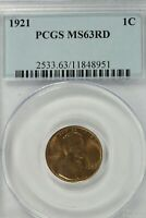 1921 LINCOLN CENT : PCGS MINT STATE 63RD BLAZING RED