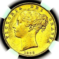 1838 QUEEN VICTORIA GREAT BRITAIN LONDON MINT GOLD SOVEREIGN COIN NGC AU58