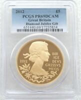 2012 DIAMOND JUBILEE 5 FIVE POUND SILVER GOLD PROOF COIN PCGS PR69 DCAM