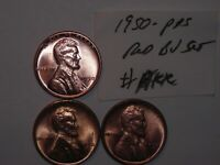 WHEAT CENT LOT 1950,1950-D,1950-S RED BU SET UNC GEM RED LUSTER LINCOLN CENTS