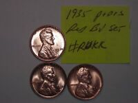 WHEAT CENT 1935,1935D,1935S RED BU SET LINCOLN CENT 1935-P,1935-D,1935-S UNC 2