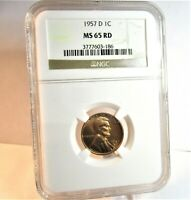 1957-D LINCOLN CENT, WHEAT CENT, NGC MINT STATE 65 RD, CERTIFIED & GRADED