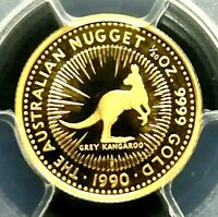 PCGS PR70DCAM GOLD SHIELD AUSTRALIA 1990 GREY KANGAROO GOLD