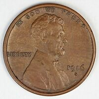 1916-S UNITED STATES LINCOLN WHEAT CENT PENNY - CH-AU CHOICE ABOUT UNCIRCULATED