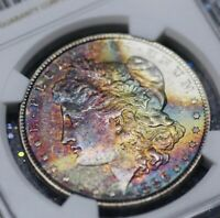 1886 NGC MINT STATE 63 STAR MORGAN SILVER DOLLAR $1 - RAINBOW CRESCENT OBVERSE TONED