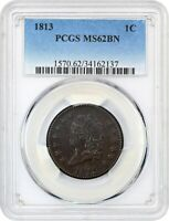1813 1C PCGS MINT STATE 62 BN - CLASSIC HEAD LARGE CENTS 1808-1814 -  LARGE CENT