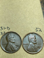 1931-D, 1933-D LINCOLN WHEAT CENT SET, 2 COINS, TOUGH DATES, 52
