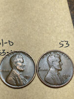 1931-D, 1933-D LINCOLN WHEAT CENT SET, 2 COINS, TOUGH DATES, 53
